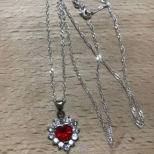 Heart crystal silver necklace